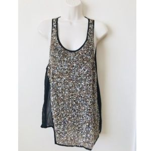 All Saints Metallic Sequin Stipple Blouse Tank